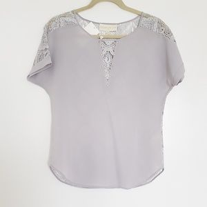 cooper & ella Grey Lace and Gold Blouse